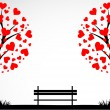 Abstract tree made with hearts with bench. Vector — Stockvectorbeeld