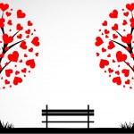 抽象树与同台的心。矢量 — 图库矢量图片