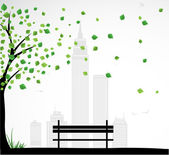 City theme Background with abstract tree. Vector — Stock Vector