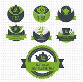 Juego de té lable. vector — Vector de stock