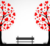 Abstract tree made with hearts with bench. Vector — Vettoriale Stock