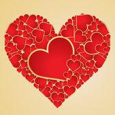 Red heart with golden border. Vector. — Stock Vector
