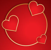 Red heart with golden border. Vector. — Vector de stock