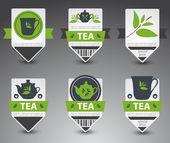 Conjunto de etiquetas de té. vector — Vector de stock
