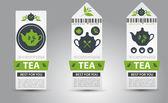 Serie di etichette del tè. Vector — Vettoriale Stock