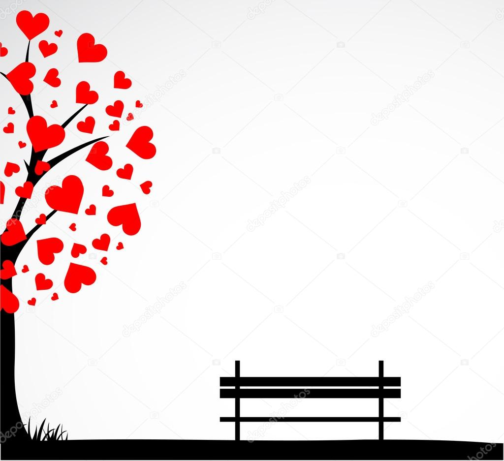 Abstract tree made with hearts with bench. Vector — Stock Vector #15883519