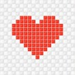 cuore di pixel. Vector — Vettoriale Stock