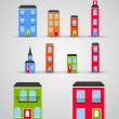 Set of funny buildings. Vector — Stock Vector #21704859