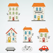 Set of old town buildings. Vector — Stock Vector