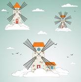 Windmill at sky. vector — Stock Vector