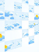 Mosaic theme. Good weather background. Blue sky with clouds. Vec — Stock Vector