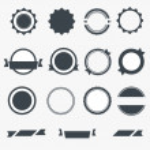 Set of gray empty labels. Vector — Stock Vector