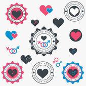Set di icone di cuore. vector — Vettoriale Stock