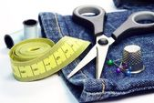 Dressmaking sewing utensils — Stock Photo