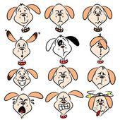 Cartoon dog faces — Stock Vector