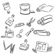 Stock Vector: Cartoon drawings of DIY tools