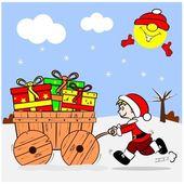 Cartoon Boy and Christmas Gifts — Stock Vector