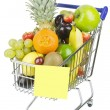 Shopping Cart and Fruit — Stock Photo