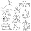 Sealife Cartoons for Colouring Book - Stock Vector