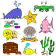 Cartoon Sealife Characters — Stock Vector
