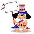 Stock Vector: Cartoon dog celebrating July 4th