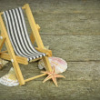 A deckchair and seashells — Stock Photo