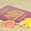 A British passport on the beach - Stock Photo