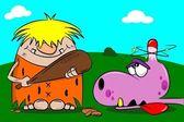 Cartoon caveman and dinosaur — Stock Vector