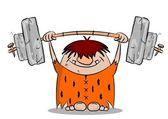 Cartoon caveman keeping fit — Stock Vector