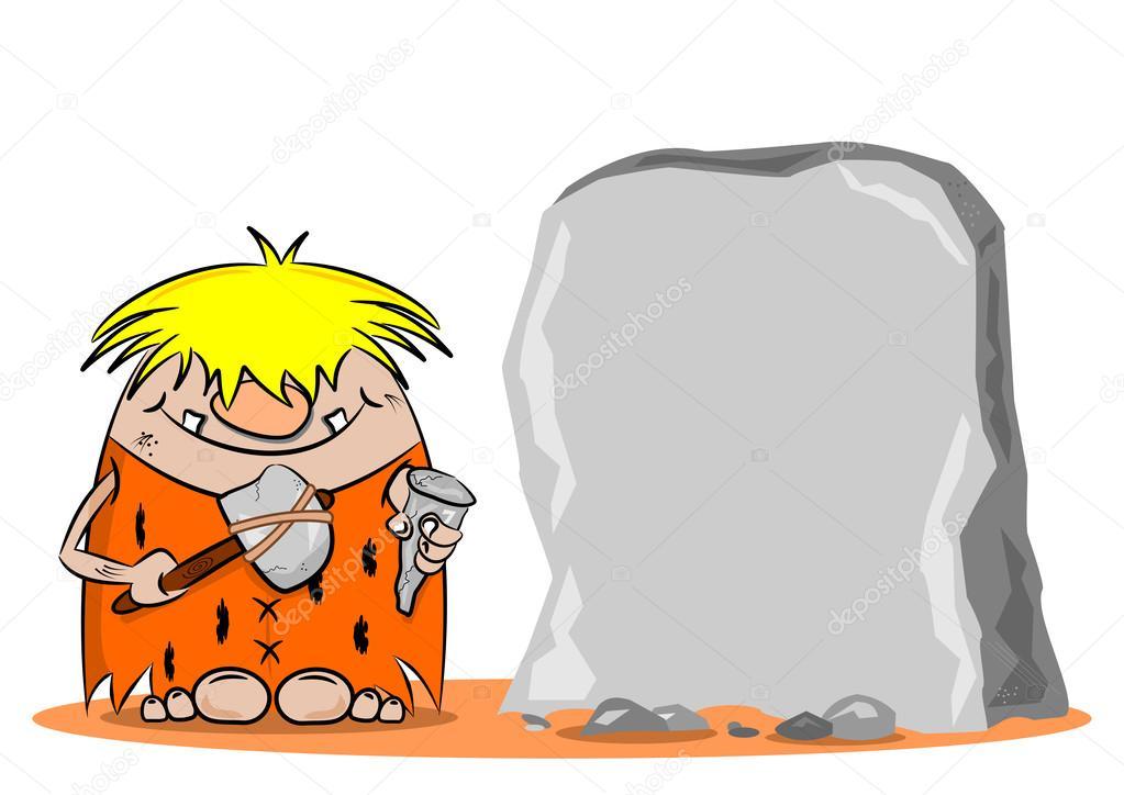 ein cartoon h hlenmensch mit hammer und mei el stockvektor gcpics 27016457. Black Bedroom Furniture Sets. Home Design Ideas