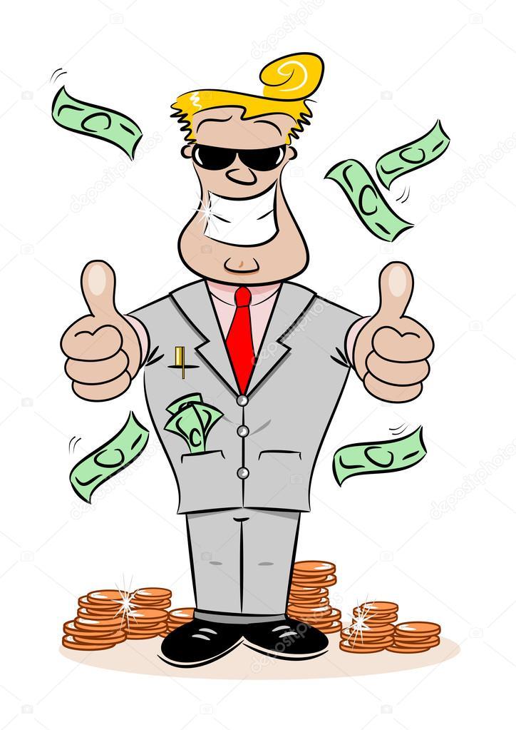 一个富人成功卡通商人