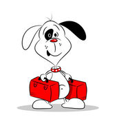 A cartoon dog holding two suitcases — Stock vektor
