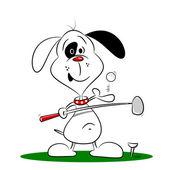 Golf oynayan bir karikatür köpek — Stok Vektör