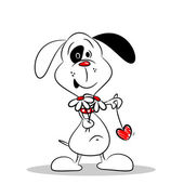 A Cartoon Dog with Flowers and Love Heart — Stock vektor