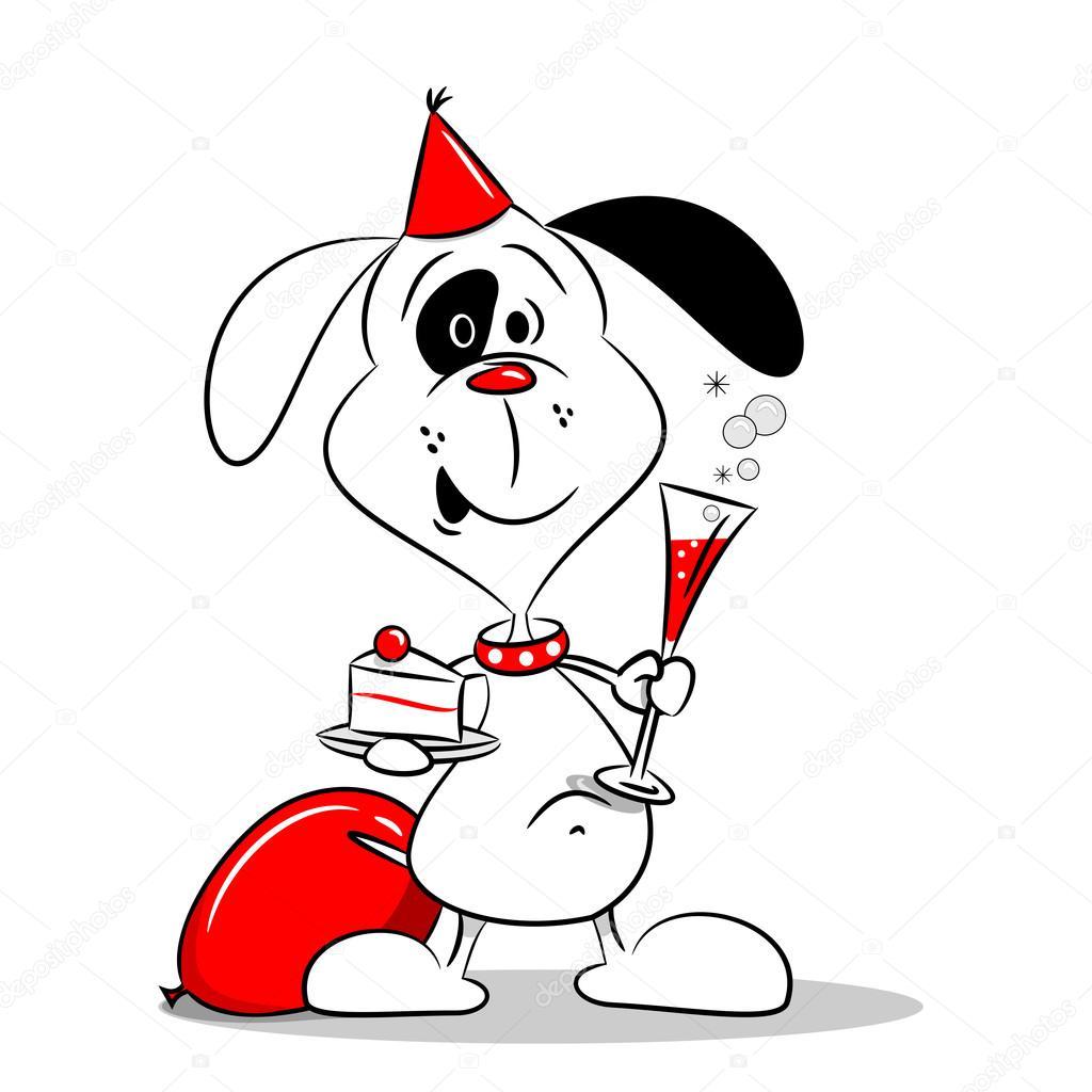 Un cane cartone animato ad una festa di compleanno