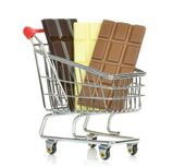 Chocolate in shopping Cart — Stock Photo