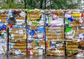 Crushed Cardboard for Recycling — Stockfoto