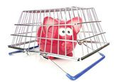Piggy Bank and Shopping Basket — Stock Photo