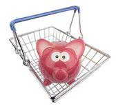 Piggy Bank in Shopping Basket — Stock Photo