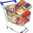 Shopping trolley cart with Christmas gifts — стоковое фото #36192813