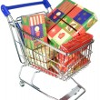 Shopping trolley cart with Christmas gifts — Stockfoto #36192813