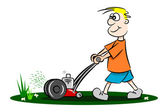 A cartoon guy cutting the grass — Stock Vector