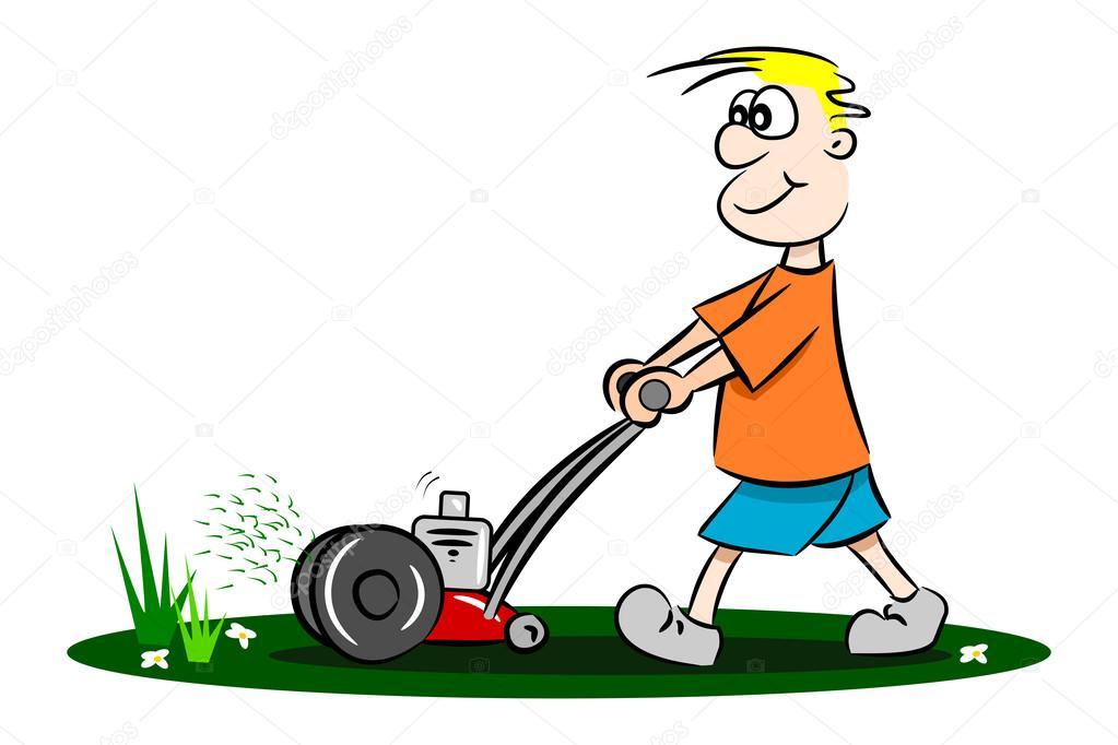 Un gars de dessin anim tondre le gazon image for Tarif pour tondre pelouse