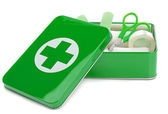 An open first aid box with contents — Stock Photo