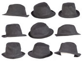 Set of black hat isolated on white — Stock Photo