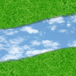Curve green grass sky — Stock Photo #25353657
