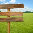 Stock Photo: Wooden sign on field grass