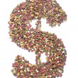 Stock Photo: Dog food us dollar shape,