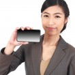 Business Woman Showing blank display of touch mobile cell phone — Stock Photo