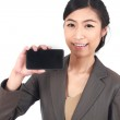 Business Woman Showing blank display of touch mobile cell phone — Stock Photo #25398525
